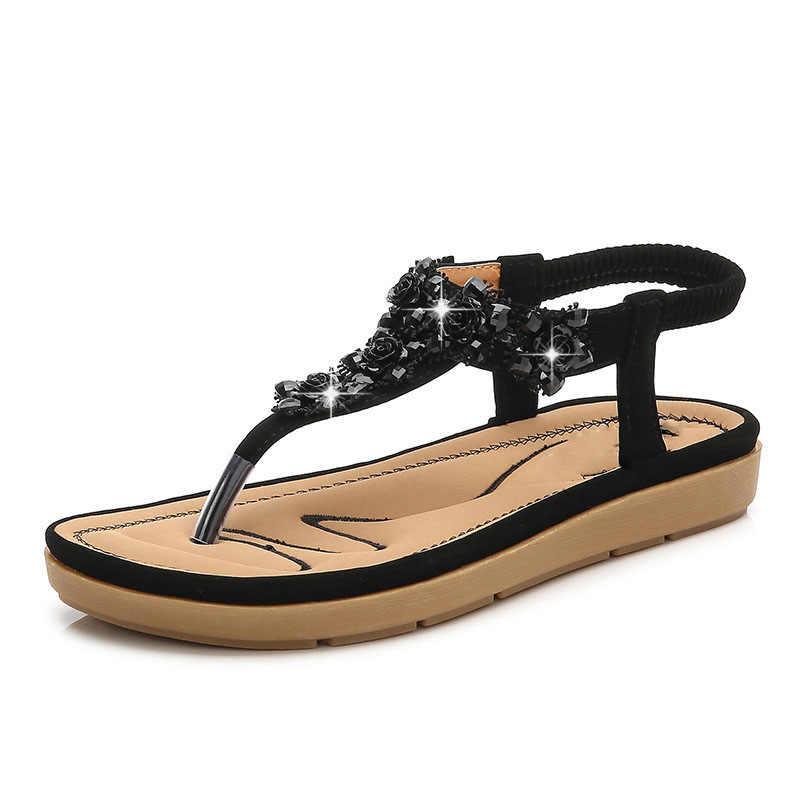 HOVINGE 2019 yaz yeni sandalet kadın Bohem terlik ile rahat kadın sandalet kadın ayakkabı