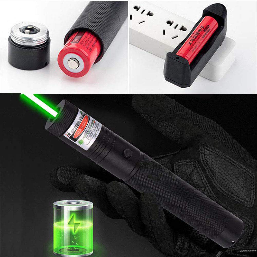 Hunting Green Laser Pointer 10000m 532nm with Rechargeable 18650 Battery Sight laser Powerful Adjustable Focus Lazer Light|Lasers| |  - title=