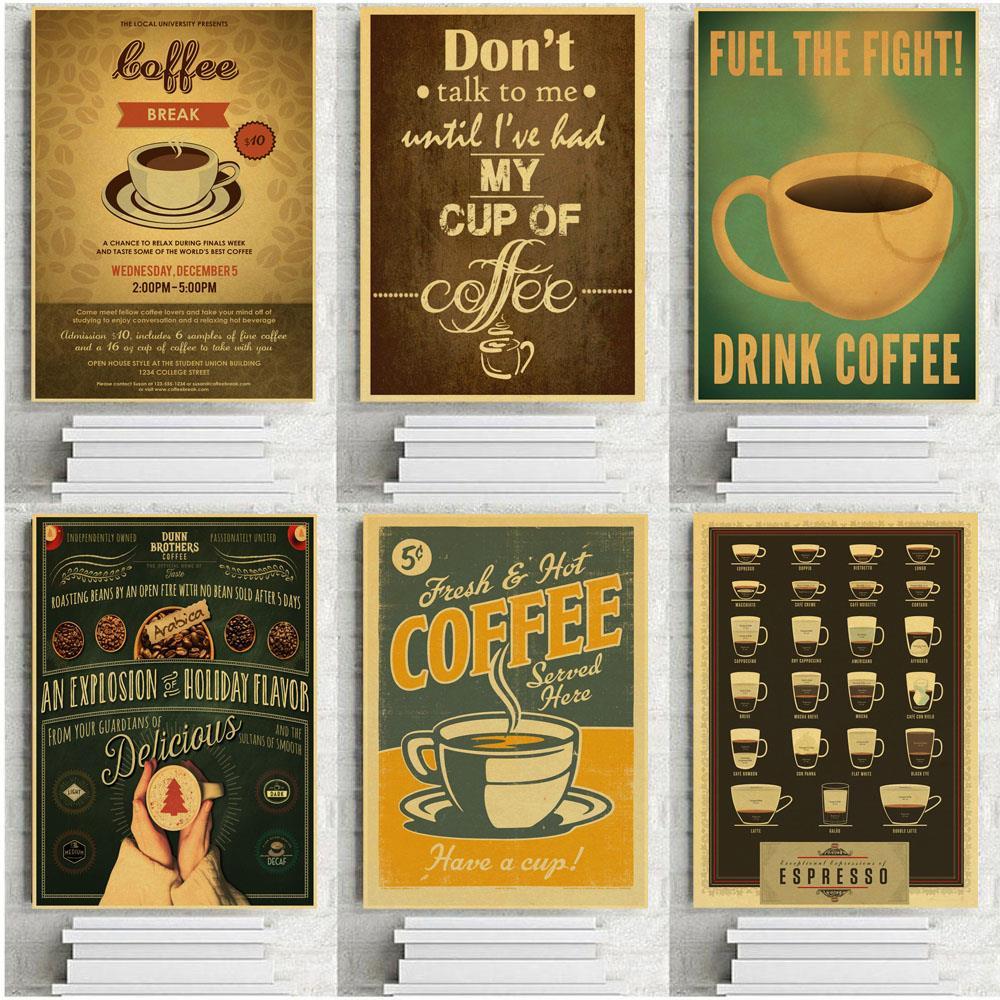 Decor Kitchen Adornment Vintage Picture Wall Sticker Kraft Paper Retro Poster