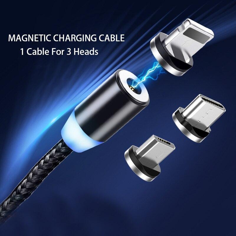 Cable USB magnético de carga rápida Cable USB tipo C cargador magnético carga de datos Cable Micro USB Cable de teléfono móvil Cable USB