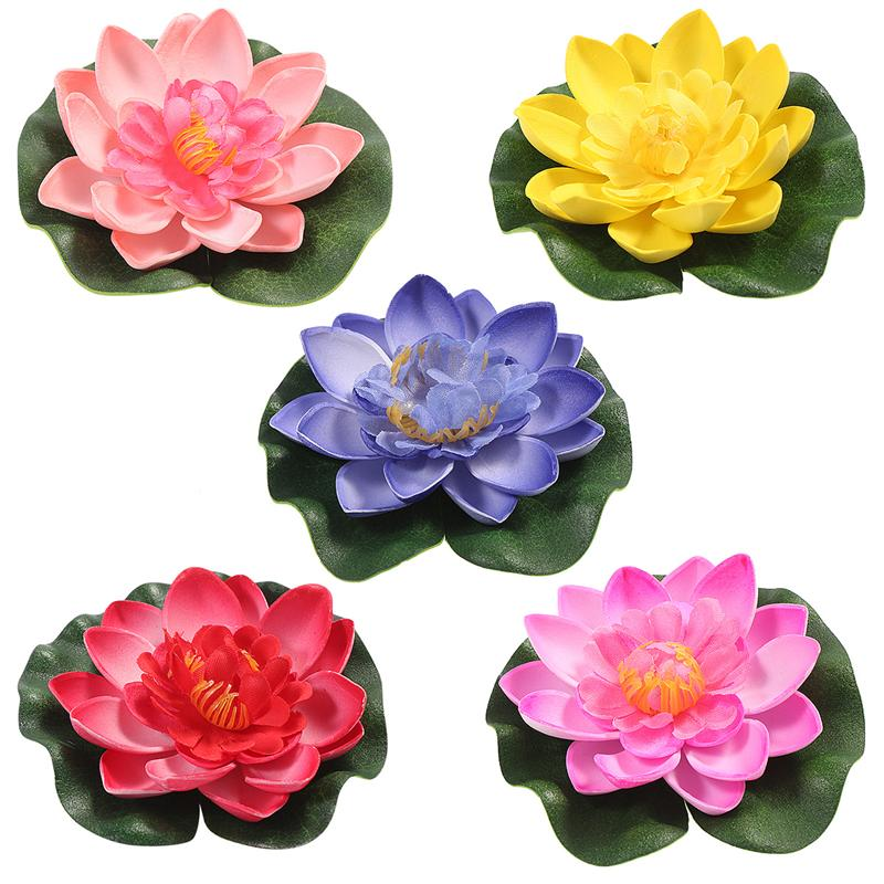 5Pcs Artificial Floating <font><b>Water</b></font> Lily EVA Lotus Flower Pond Decor 10cm Red Yellow Blue Pink <font><b>Light</b></font> Pink <font><b>Pool</b></font> Simulation Lotus image