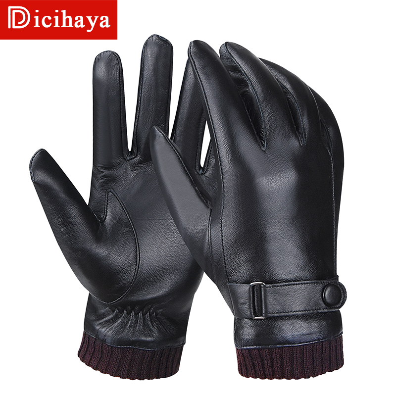 Купить мужские перчатки dicihaya из натуральной кожи теплые ветрозащитные