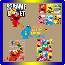 1Pcs sesame street iron on Heat transfer patches for clothing anime elmo thermal stickers t-shirt diy accessories Cookie Monster(China)