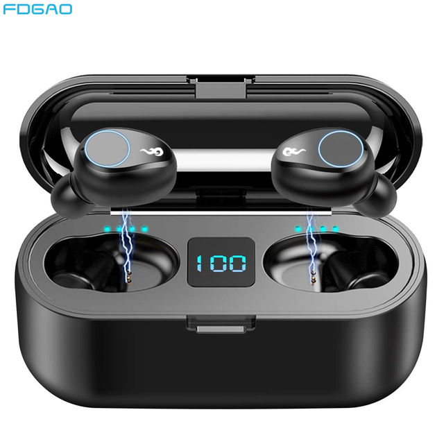 Bluetooth écouteurs TWS sans fil 5.0 casque étanche dans loreille sport écouteur 2000mAh charge batterie externe casque Microphone