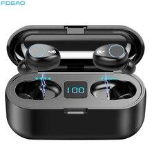 Tws fones de ouvido bluetooth 5.0, fones de ouvido, fones auriculares, a prova d água, carregador, 2000mah, carregador, carregador, microfone