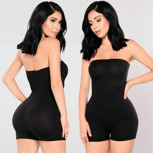 Women Tube Top Jumpsuit Short Romper Playsuit Leotard Sleeveless Top Stretch Blouse Lady Bodysuit