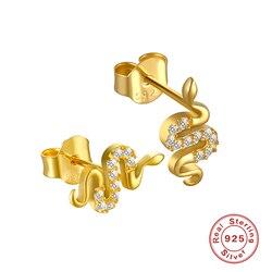 Punk 925 brincos de prata esterlina para mulheres brincos de ouro mau olho menina cartilagem orelha osso cobra zircon aretes b5