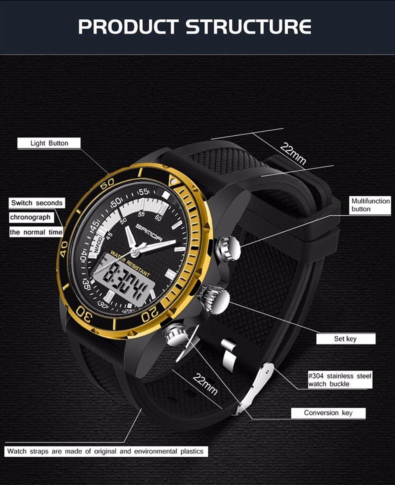 Heren Horloge Merk SANDA Esporte Horloge Duiken