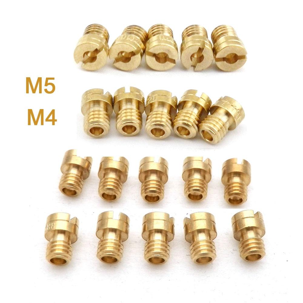 Pacote de 10 peças 4mm 5mm jato principal m4 m5 para gy6 50cc 139qmb pz19 keihin oko koso pwk mikuni keihin carburador