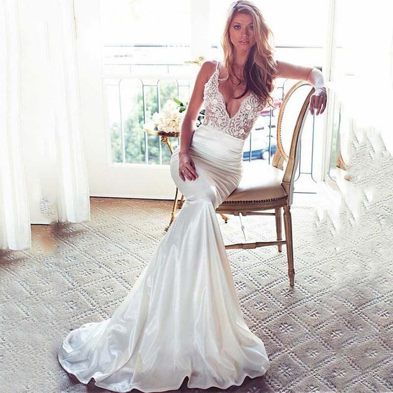 SoDgine Strapless Mermaid Wedding Dress Vestidos De Novia 2020 V Neck Stretch Satin Lace Appliques Bridal Dresses Wedding Gowns