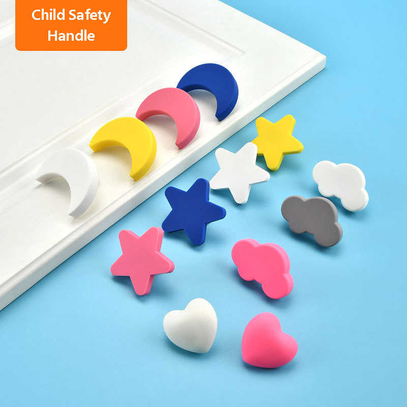 Children Room Knobs and Handles Cute Pink Heart Star Moon Cloud Kids Child Kitchen Cabinet Cartoon Furniture Handle Drawer Pulls