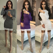 women dress 2019 knitted autumn winter ladies sexy green sweater long sleeve vintage korean