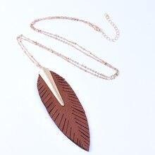 купить 2019 Women's Necklace New Fashion Women Pendant Women's Leather Necklace Long Leaf Feather Necklace Sweater Accessories Pendant дешево