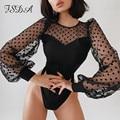 FSDA Patchwork Polka Dot Lange Puff Sleeve Body Schwarz Frauen Sexy Herbst Winter Casual 2021 Party Körper Tops Mesh