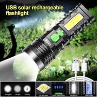 P100 10W Super brillo Solar LED + COB linterna USB recargable bolsillo Lanterna portátil antorcha impermeable construido en la batería