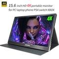 4K Портативный монитор 15,6 дюймов 3840X2160 IPS ЖК-дисплей Дисплей HDMI DP USB type-C для портативных ПК телефон PS4 переключатель XBOX 1080P игровые мониторы