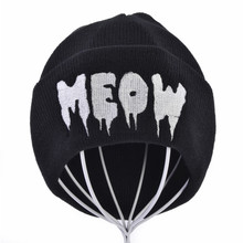 купить Autumn Winter MEOW Cap Unisex Casual Hip Hop Hats Knitted Wool Skullies Beanies Hat Warm Winter Hat For Women Beanie дешево