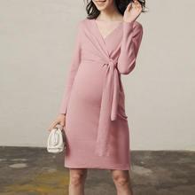Платье для беременных зимнее розовое вязаное платье женщин осень