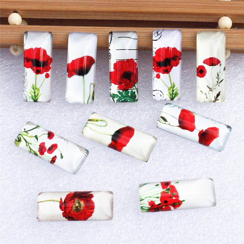 10x25mm Random Mixed Red Flowers Rectangle Glass Cabochon Dome Flatback Photo Tray Blank Base DIY Making Accessories 10pcs