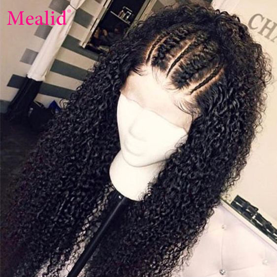 Mealid Peruvian Hair 13x4/13x6 Kinky Curly Human Wig Remy Hair 150% Density Pre-Plucked With Baby Hair Natural Color