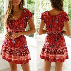 Женское летнее платье с цветочным принтом, 2 предмета, топ с открытыми плечами, Мини Короткое платье, винтажный сарафан со шнуровкой, 449F