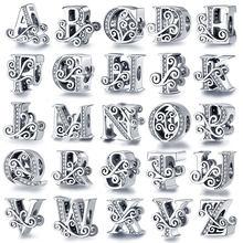 PANDACH 100% Echt 925 Sterling Silber Brief Alphabet A-Z Charme Name Bead Fit Original Armband Anhänger Schmuck CMC030