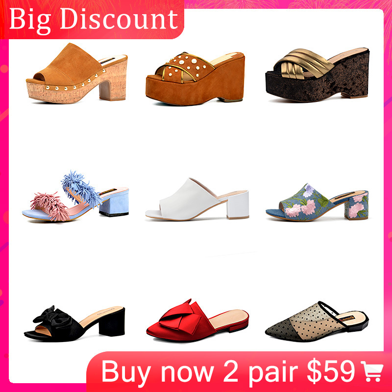 Donna-in Clearance Genuine Leather Slippers Women Summer Shoes Outside Flat Bottom Women Platform Wedge Beach Flip Flops Sandals