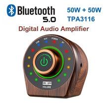 50w + 50w bluetooth 5.0 tpa3116 classe d, amplificador de áudio potente, madeira, retrô, estéreo hifi para casa cinema amp