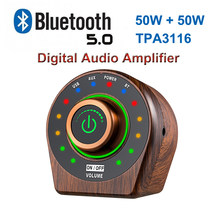 50W+50W Bluetooth 5.0 TPA3116 Class D Digital Power Audio Amplifier Wooden Retro Stereo HiFi Amplificador Home Theater AMP