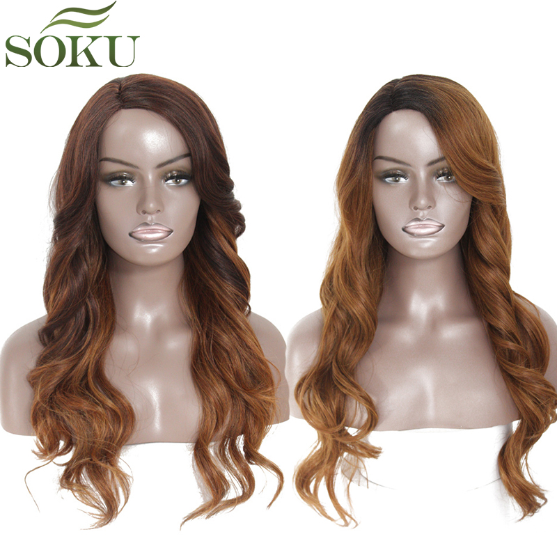 SOKU Wigs Synthetic-Hair-Wigs Side-Part Heat-Resistant Brown Black Ombre Women Long-Wave