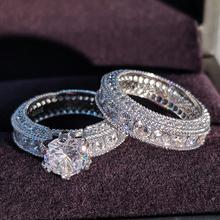 925 пробы серебряные Роскошные смелые большие свадебные кольца набор для новобрачных женщин обручальные африканские палец Рождественский подарок ювелирные изделия r4428