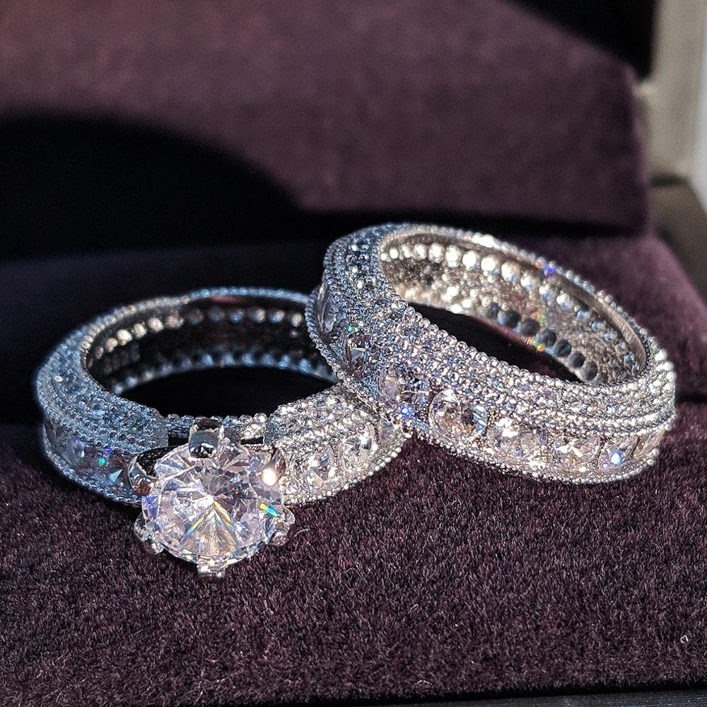 925 Sterling Silver luxury bold big wedding Rings set for bridal Women Engagement african finger christmas gift Jewelry r4428(China)