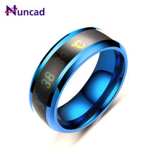 2019 New Color Change Emotion Feeling Temperature Ring Temperature Ring for Women Men Changeable Titanium Steel Casual Ring(China)