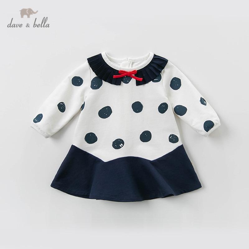DB13609 dave bella printemps bébé fille princesse mignon bow dots robe enfants mode robe de soirée enfants infantile lolita vêtements