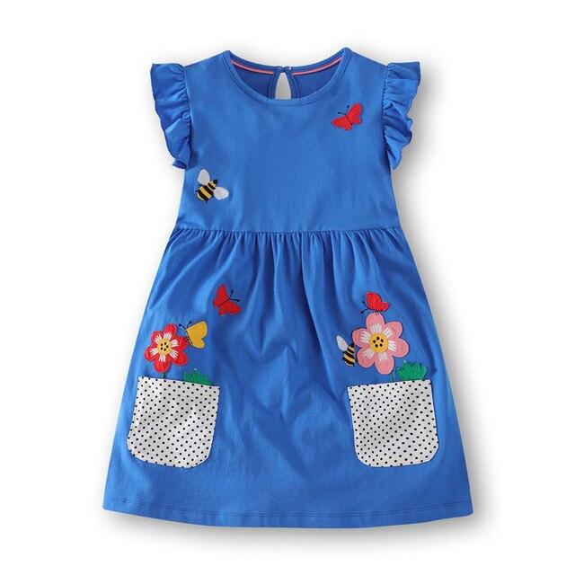 Veepola Kid Baby Girls Cartoon Ocean Animals Print Striped Dress Casual Dresses