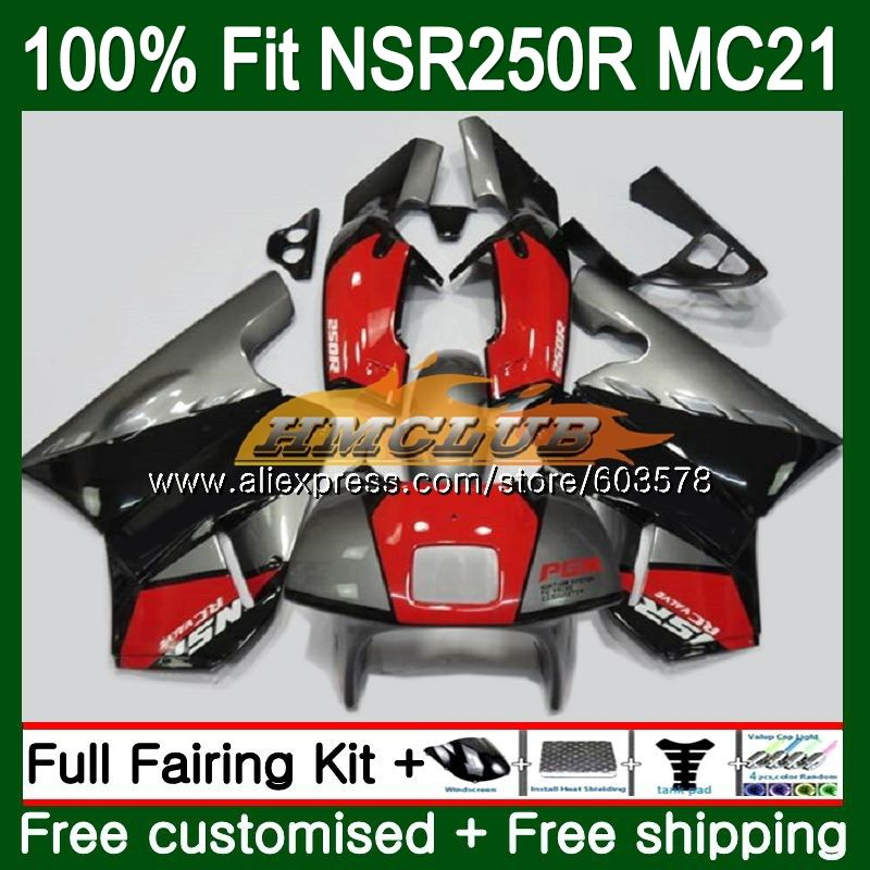 Injection For HONDA NSR250R MC21 PGM3 1990 1991 1992 1993 101CL.19 Red silver <font><b>NSR</b></font> <font><b>250</b></font> R NSR250 RR <font><b>NSR</b></font> 250R 90 91 92 93 Fairing image