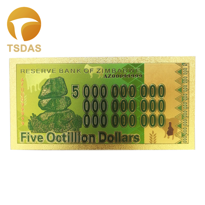 Zimbabwe Banknotes 24K Gold Foil Replica Banknote Gold Plated Five Octillion Dollars Bill Fake Money Business Gift