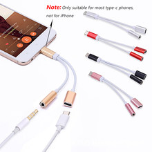 2in1 USB Type C To 3.5mm Jack Audio Splitter USB C Earphone Cable Charging Adapter USB-C To 3.5 AUX Audio Cable for Mobile Phone(China)