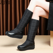 ZJVI women platform wedges heels knee high snow boots woman fashion warm winter ladies thigh high boots girls shoes 2019 black
