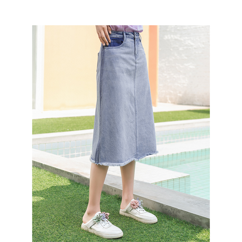 INMAN 2020 Summer New Arrival Pure Cotton Wash Tint Retro All-match A-line Concise Style Denim Skirt