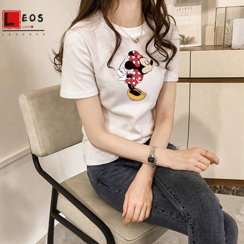 Summer Women T Shirt Minnie Cartoon Print Short Sleeve For Girls Casual T-Shirt New Harajuku Loose Cute Female Tops Tees Hot