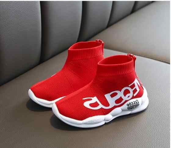 Kind casual schoenen mannelijke vrouwelijke baby sneaker kids hoge elastische voet wikkelen sneeuw martin laarzen kinderen gebreide sokken sport schoenen