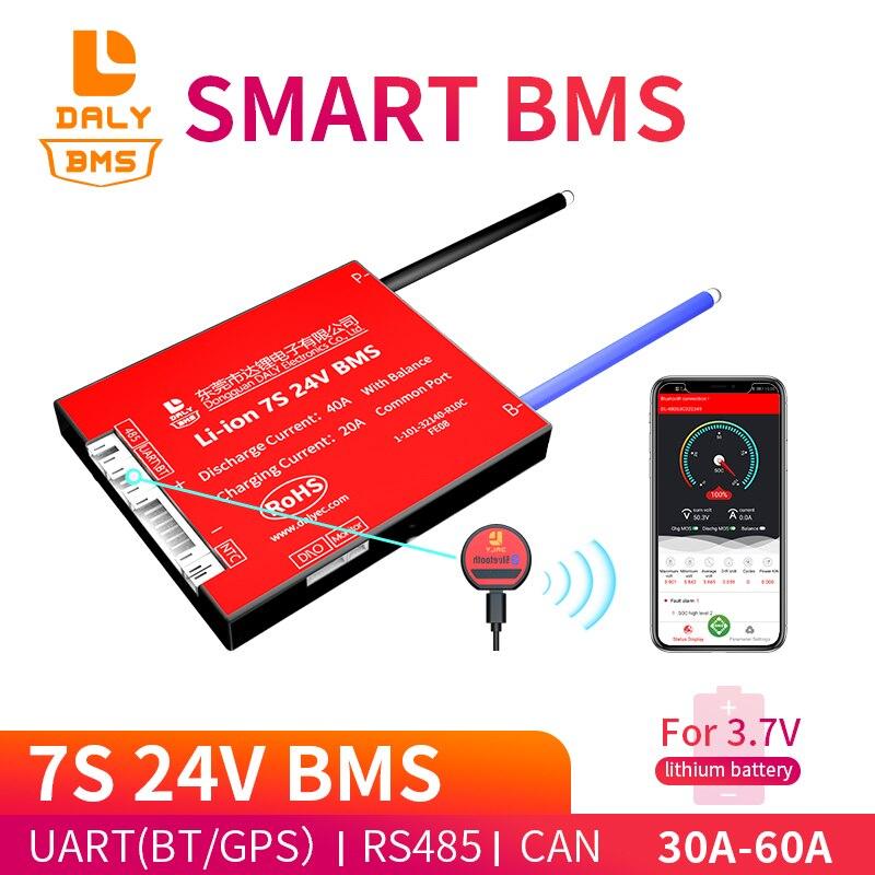 Dispositivo inteligente BMS 7S 24V 30A 40A 60A Placa de protección de batería Bluetooth 485 Accesorios para baterías  - AliExpress