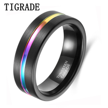 Tigrade New Man Ring 7mm Black Tungsten Carbide Rings Mens Jewelry Colorful Line Wedding Bands Male Size 6-12 bague homme