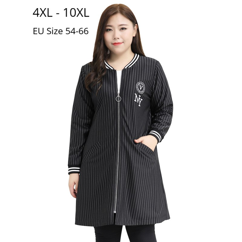 Plus Size 10XL 9XL 8XL 7XL Long Sleeves Autumn Spring Trench Coat Femme Striped Fashion Europian Clothes Long Windbreaker Coat