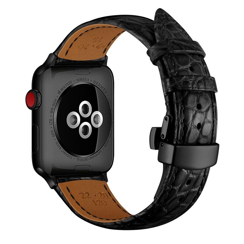 Strap for Apple watch band 5 4 44mm 40mm France alligator Genuine leather correa iwatch band 3 2 42mm 38mm TOP Process bracelet   Watchbands