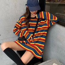 Women Rainbow Striped T-shirt Round Neck Loose Tee Tops Fashion Long-sleeved T-shirt alcatel pop 4 plus 5056d blue