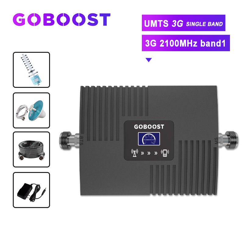 GOBOOST amplifier 3g cellular signal booster 2100 mobile signal booster LCD display repeater UMTS 3G 2100 gsm 2g 3g 4g antanna
