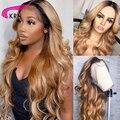 КРН блонд изюминка бразильский 13х6 кружева фронта человеческих волос волнистый парик с волосами младенца Омбре подчеркивает цвет 180% Плотно...