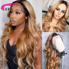 Perruque Lace Front Wig Body Wave naturelle, cheveux humains, couleur #27, blond miel ombré, 13x4, 26/28 pouces, fermeture 4x4, 1b27, pour femmes